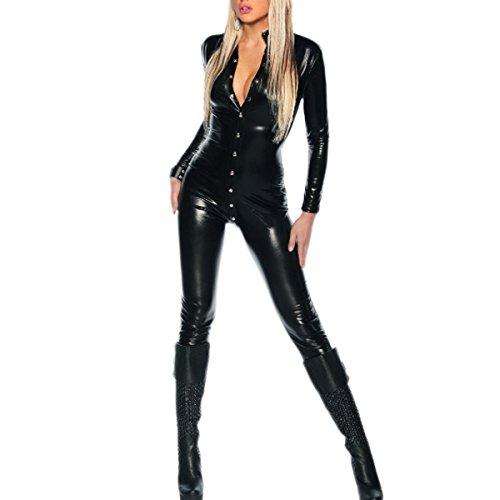 SSScok Cuir Sexy Lingerie Clubwear Costume Femmes Combinaison Body Babydoll Chemise de Nuit avec Entrejambe Ouvert