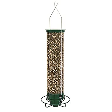 Droll Yankees Squirrel Proof Bird Feeder, Yankee Flipper, 17-Inch, 4 Ports, Green