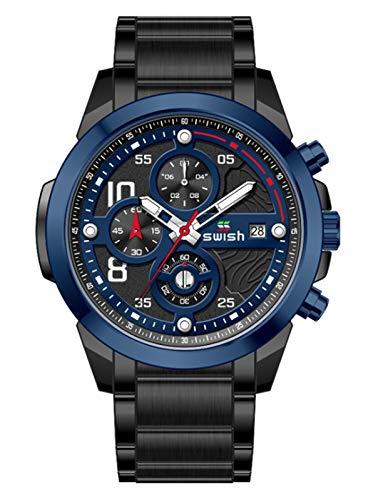 MLHXHX Reloj de hombre, caja de acero inoxidable, correa de acero, multifunción, reloj redondo de cuarzo de 6 pines, reloj casual no mecánico azul y negro