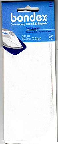 BONDEX WHITE TWILL 5' x 7' IRON ON MENDING PATCHES (2 Pc),Clothing, Repair, Mend