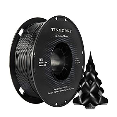 PETG Filament 1.75mm 1kg, TINMORRY 3D Printer Filament PETG Tangle-Free 3D Printing Materials, 1 Spool, Jet-black