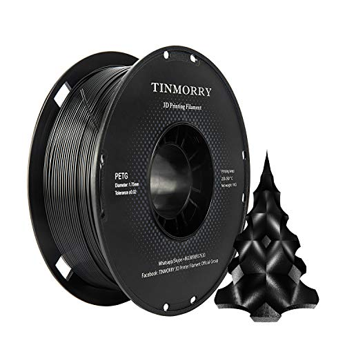 PETG Filament 1,75 Schwarz, TINMORRY Filament PETG 1,75mm für FDM 3D Drucker, 3D Druckmaterialien 1 kg 1 Spule, Jet-black