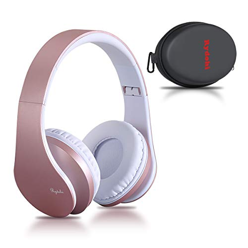 Bluetooth Over Ear Kopfh?rer, Rydohi Wireless Stereo Headset Klappbares Kopfh?rer mit Integriertem Mikrofon/FM Radio /MP3 Player f¨¹r iPhone, Android, PC - Rose Gold