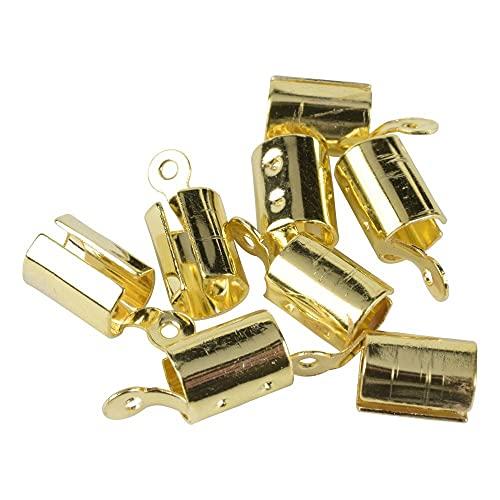 BOSAIYA PJ 100pcs 5x12mm Pulsera de cordón de Cuero Pulsera CRIGHT Clasps Fold para Suministros de joyería TL808 (Color : Gold)
