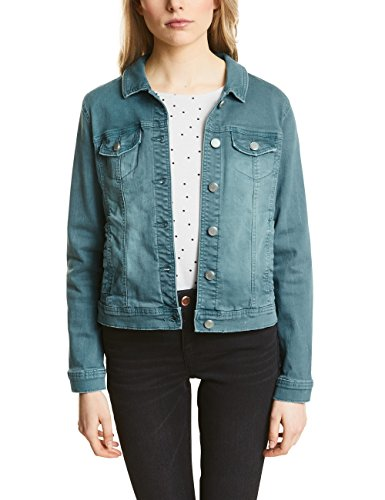 Street One Damen 210677 Jeansjacke, Grün (Authentic Teal Green Washed 11322), 36