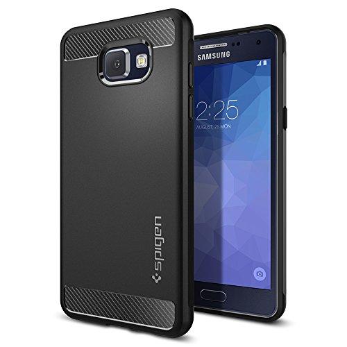 Spigen, Funda Compatible con Samsung Galaxy A5 2017 [Rugged Armor] Absorción de Choque Resistente y diseño de Fibra de Carbono [Compatible con Carga Inalámbrica] - [Negro Mate]