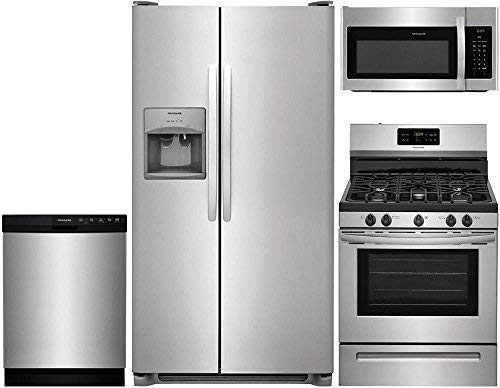 """Frigidaire 4-Piece Stainless Steel Kitchen Package with FFSS2615TS 36"""" Side-by-Side Refrigerator, FFGF3054TS 30"""" Freestanding Gas Range, FFBD2412SS 24"""" Full Console Dishwasher and FFMV1645TS 30"""" Over-"""