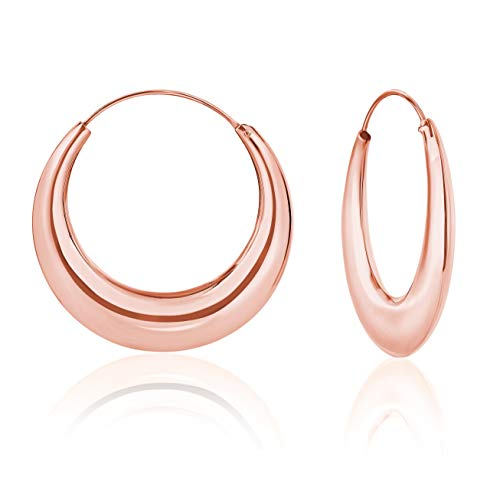 DTPsilver Argento 925 in oro rosa placcato creolo Spesso Gli orecchini dei Cerchi