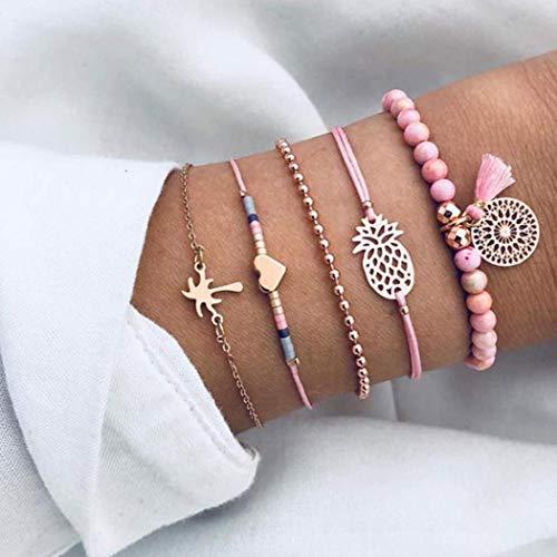 Yean Boho Layered Bead Bracelets Heart Bracelets Set with Tassel Pink Bracelet Handmade Hand Accessories (5Pcs)