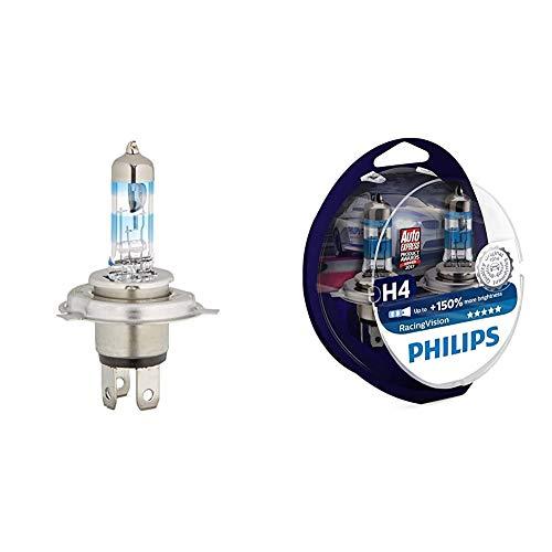 Philips 12342XVS2 X-treme Vision - Bombilla H4 para faros delanteros (2 unidades) + MT-PH 12342RVS2 RacingVision Bombilla para Faro de Coche, H4, 2 Piezas