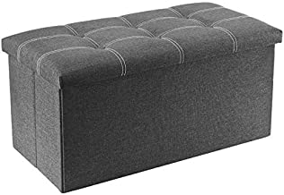 YOUDENOVA 30 inches Storage Ottoman Bench, Foldable Footrest Shoe Bench with 80L Storage Space, End of Bed Storage Seat, Support 350lbs, Linen Fabric Grey