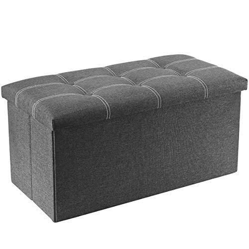 YOUDENOVA banco otomano de almacenamiento de 30 pulgadas, banco de zapatos plegable con espacio de almacenamiento de 80 L, asiento de almacenamiento final de cama, soporta 350 libras