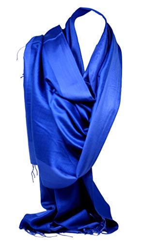 Bullahshah Bullahshah Zweiseitig Reversible Plain Pashmina Gefühl Verpackungs-Schal-Schal-Stola Kopftücher (Blau Schattiert)