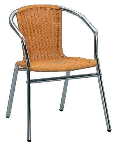 En aluminium avec chaises bistro rio rundrattanbezug naturel