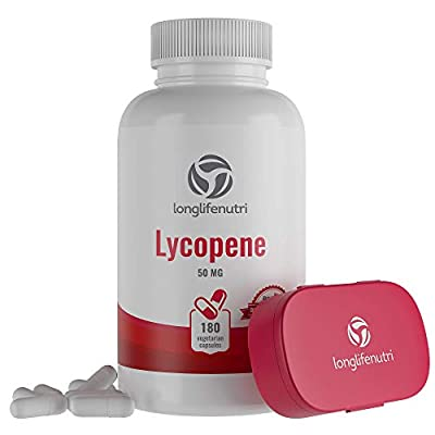 Lycopene 50mg 180 Vegetarian Capsules   Supplement for Prostate & Heart Health   Antioxidant Natural Tomato Extract Non-GMO   Supports Immune System & Helps Reduce Free Radical Damage - Pure Powder