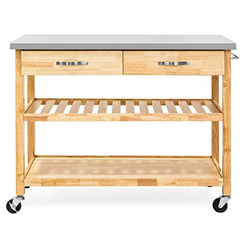 Best Choice Products 3-Tier Wood Rolling Kitchen Island Utility Serving Cart w/Stainless Steel Countertop