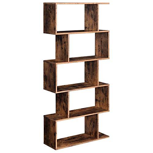 YIERMA Estantería de madera de 5 pisos, color marrón vintage, estilo Z.