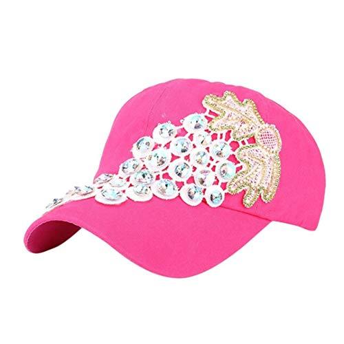 Gorros Gorra De Pico para Taladro Mujer Tamaño Puntiagudo Modernas Casual Gorra De Béisbol Gorra De Béisbol Rhinestone De Las Mujeres Chica De Moda Hip Hop Gorras (Color : Pink, Size : One Size)