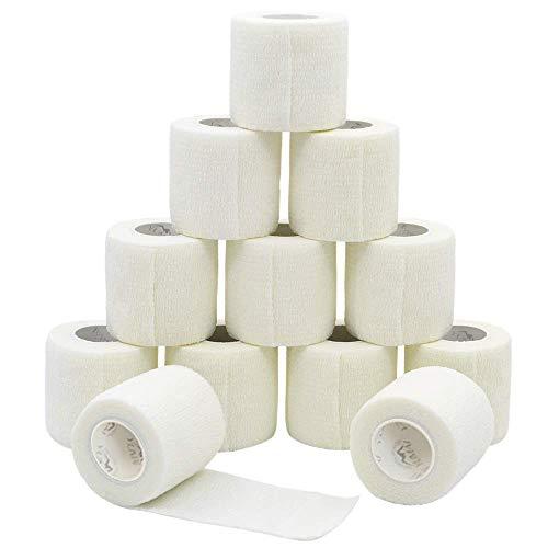 YUMAI Vendaje adhesivo Primeros Auxilios Cinta Adhesiva, 5 cm x 4.5 m Pack de 12 aprobado por la FDA - Blanco