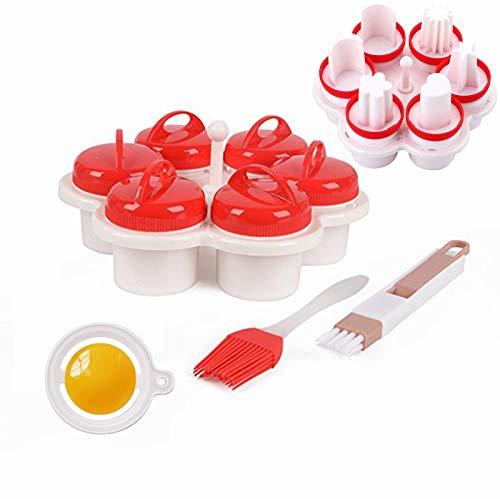 Eierkocher Silikon set 6 Stück, Eierkochern ohne schale easy eggs, Non Stick Silikon Gekochte Dampfer Eggies, Maker Egg Cooker BPA Frei Antihaft Eier Pochier, Pochier Schnelle.