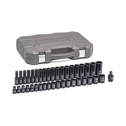GEARWRENCH 39 Pc. 1/2' Drive 6 Point Standard & Deep Impact Metric Socket Set - 84948N, Black