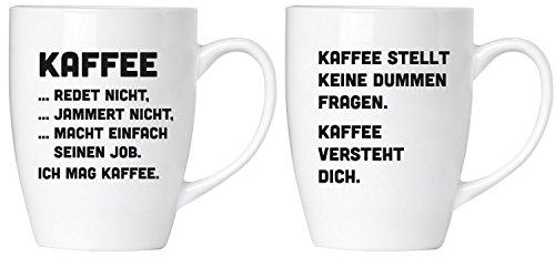 Brubaker Tassen Geschenkset - Kaffee versteht Dich. Kaffee jammert Nicht! - Tassen Set aus Keramik - mit Grußkarte und Geschenkpackung