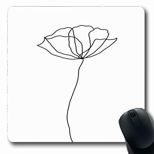 Jamron Mousepad OblongEmpty Poppy Wedding One Zeichnung Flower Line Pen Minimalistische Kontur Pflanze Symbol Zeichen Symbole Sabi rutschfeste Gummimaus Pad Office Computer Laptop Spiele Mat.-Nr.