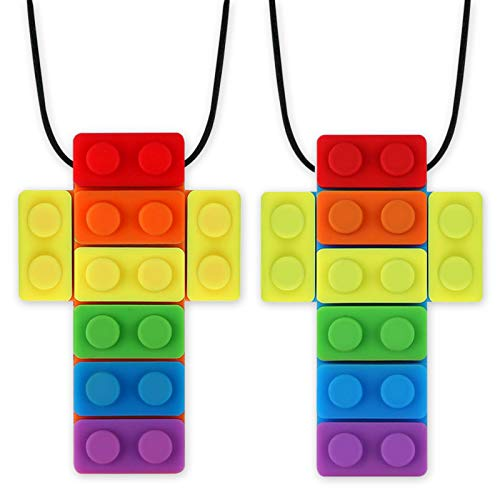 Rainbow Colored Block Sensory Chew Necklaces, Oral Motor Chewy Stick Teether for Autism, ADHD, Baby Nursing or Special Needs- Reduces Chewing Biting Fidgeting for Kids Adult Chewers