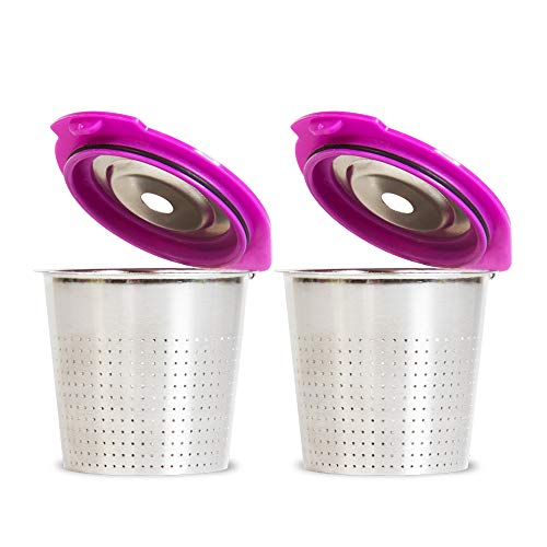 Cafe Flow Stainless Steel Reusable K Cup, 2-Pk by Perfect Pod   Refillable Capsule Cup Metal Coffee Filter for Keurig 1.0 2.0 K-Duo K-Slim Plus Other Select Models (See Full Compatibility Chart)