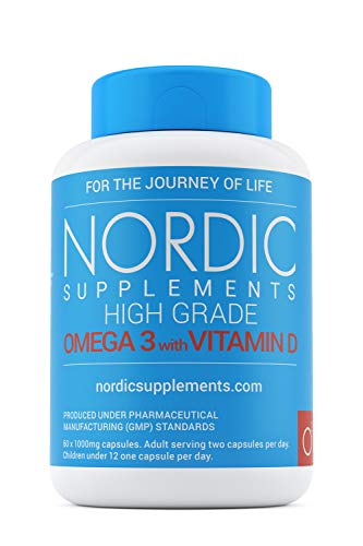 Nordic Supplements 1000 mg Pharmaceutical Grade Omega 3 Fish Oil with Vitamin D - 60 Capsules
