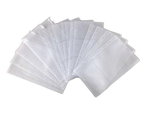 Honbay 12pcs 3 Types 176LX105W mm Binder Pocket 6 Holes Business Card Storage Bag Loose Leaf Notebook Filler Organizer Zipper Bag Bill Pouch