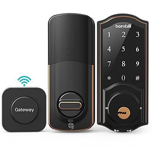 [2021 Newest]Smart Deadbolt,hornbill Door Locks with Keypad-Bluetooth,Include Wi-Fi Gateway,ekeys,Passcodes,Auto Lock,Free APP Control Keyless Entry Secuity Smart Lock for Home Office Hotel Apartment