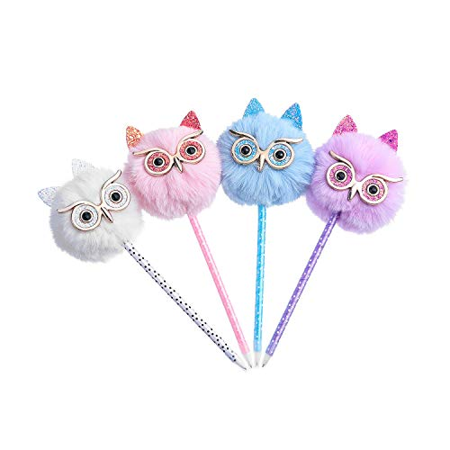 Abhay 4 Pack Owl gift Pen Colorful Fluffy Ball Pen for Easter and Party Supplies