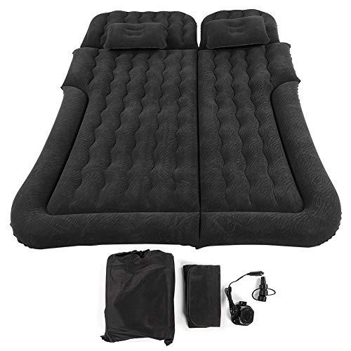 Luftbett für Auto, Reise, komfortabel, Luftmatratze, Auto, mit 2 Kissen, Bett, Luftmatratze, für Reisen, mit praktischer Pumpe für Zuhause (schwarz)