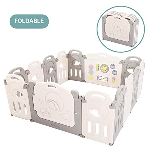 Review Of Fortella Cloud Castle Foldable Playpen, Baby Safety Play Yard with Whiteboard and Activity...