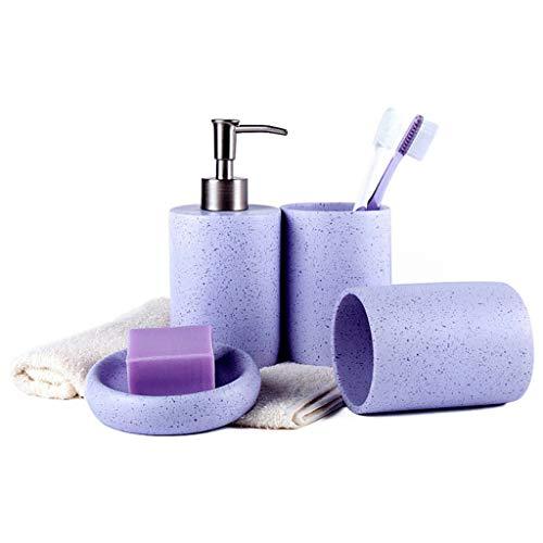 HMEI Dispensador de loción Conjunto De Accesorios De Baño, Conjunto De Baño De 4 Piezas De Resina Simple, Incluye Dispensador De Jabón,Vaso,Jabonera (Color : Purple)
