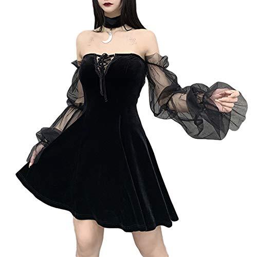 Carolilly Vestido de fiesta para mujer, sexy, punk, minivestido negro, gótico, vestido para mujer, vestido de club, vestido de mujer, línea A, choker gótico, vestido negro A L