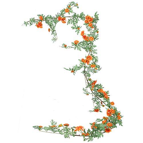 HUAESIN Künstliche Hängepflanzen Efeu Girlande Daisy Künstliche Blumengirlande Sonnenblume Ranken Hängend Kunstblumen für Balkon Hochzeit Fahrrad Friedhof Draußen Deko Orange 180cm