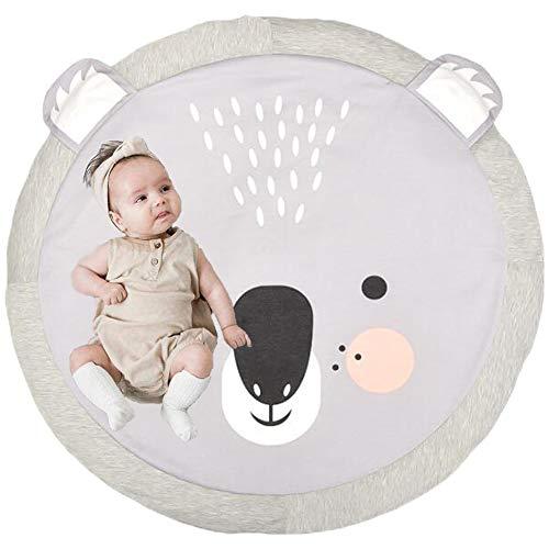 Tappeto Tondo Bambini Lavabile,Copertina per Gattonare in Cotone,Gioco Coperta Carpet,Tappeto per Bambini Gattonare Morbido,Tappeto Tondo Bambini,Tappeto Rotondo con Animale. (Koala)