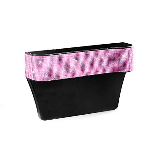 HOB4U Bling Car Seat Organizer Front Seat Gap Filler with Crystal Rhinestones Diamond, PU Leather Car Seat Organizer for Car Interior Accessories for Women, Pink