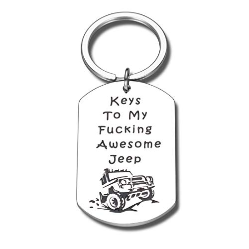 Jeep Lover Gifts for Men Women Husband Wife Boyfriend Wrangler Accessory Keychain Soul Jeepsy Enthusiast Gift for Him Her Daughter Son Birthday Christmas Keys to My Awesome Jeep