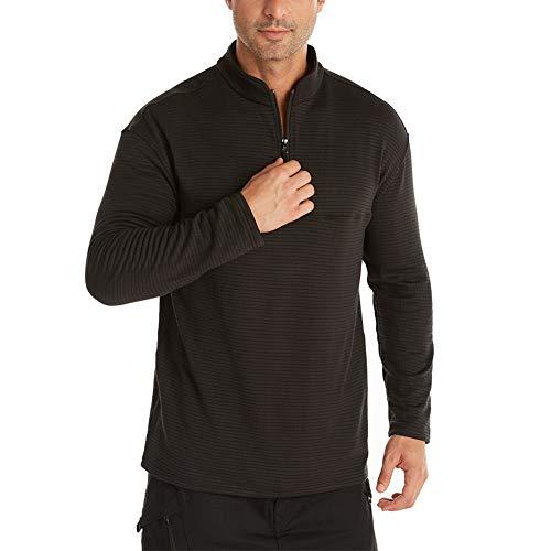 chuangminghangqi. Camiseta de hombre de manga larga de cuello alto elegante camiseta térmica ropa deportiva suéter suéter suéter para esquí y senderismo Negro XL