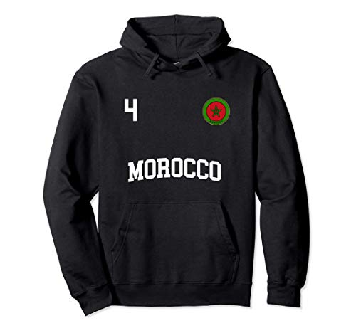 Marokko Fußball Mannschaft Nummer 4 Marokkaner Flagge Pullover Hoodie