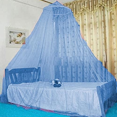 Portátil Casa de Cama decoración Redonda Cama con Dosel cúpula mosquitero Neto para el hogar Interior al Aire Libre (Color : Blue)