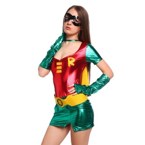 maboobie Sexy Mini Robe Costume de Deguisement Vert Personnage Cinema avec Cape Masque Gants S M L