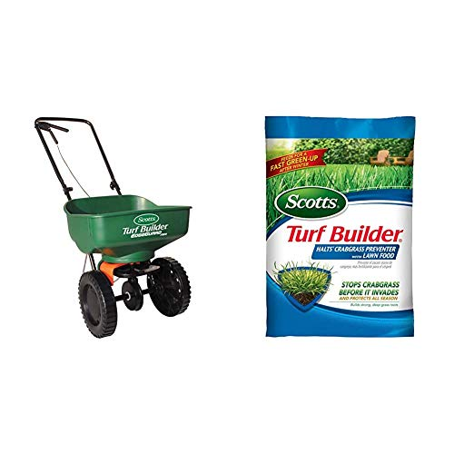 Scotts Turf Builder EdgeGuard Mini Broadcast Spreader - Holds up to 5,000 sq. ft. of Scotts Grass Seed or Fertilizer Products & Turf Builder Halts Crabgrass Preventer with Lawn Food, 5,000 sq. ft.