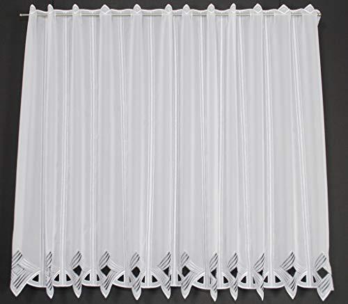 Scheibengardine Moderne Lochstickerei 90 cm hoch   Breite der Gardine durch gekaufte Menge in 16 cm Schritten wählbar (Anfertigung nach Maß)   grau/anthrazit   Vorhang Küche Wohnzimmer