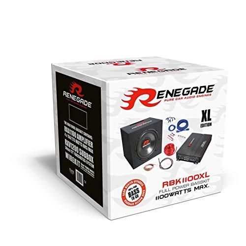 Renegade RBK1100XL Subwoofer + Verstärker + passendes Kabelset Basspack 1100 Watt
