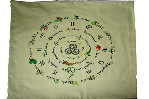 Altar Cloth or Tarot Cloth - Walking the Wheel of The Year in Yellow