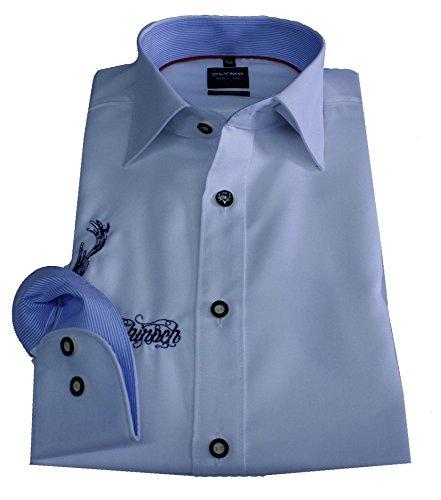OLYMP Hemd Luxor, Trachtenhemd, Body fit, weiß Bestickt (44)